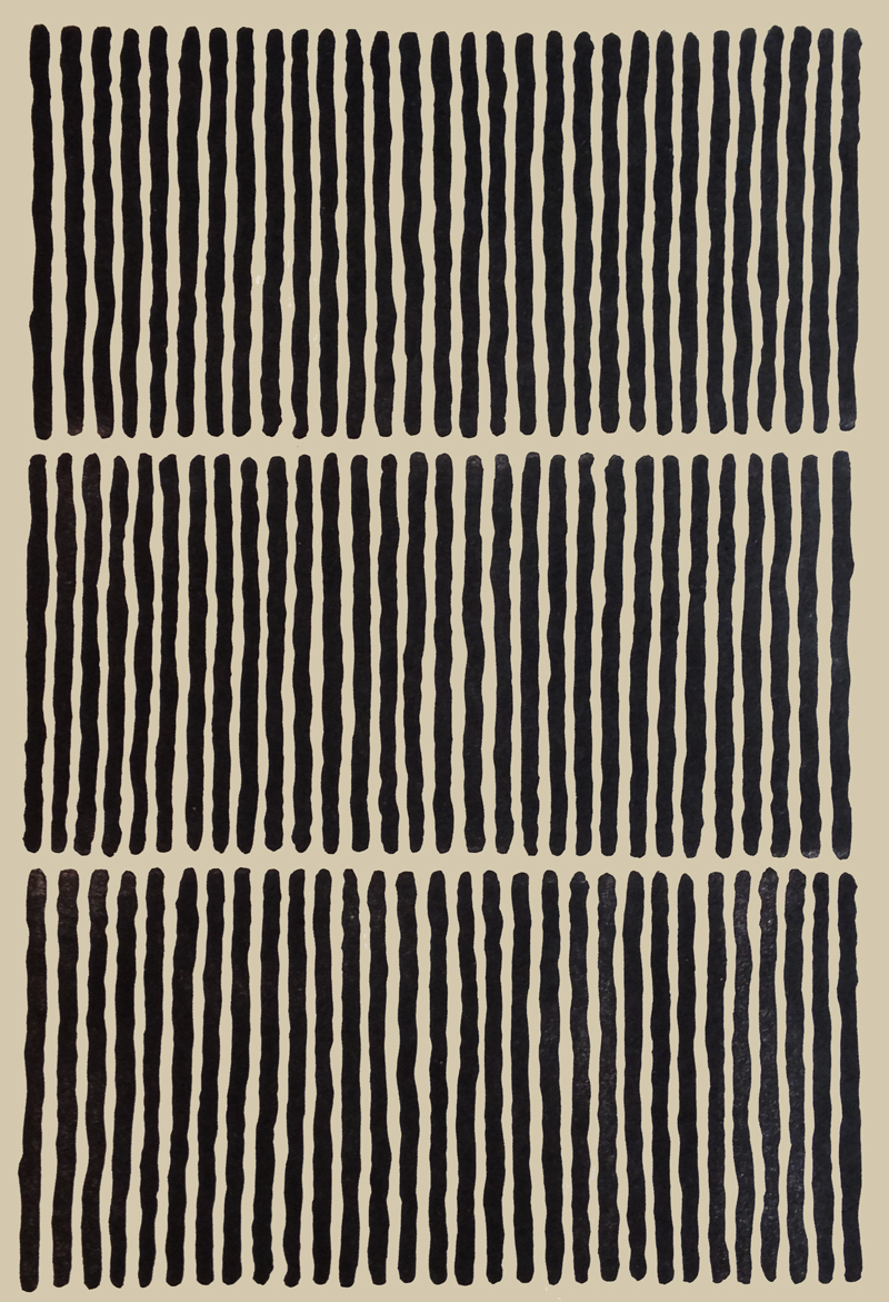 stripe linocut hand print