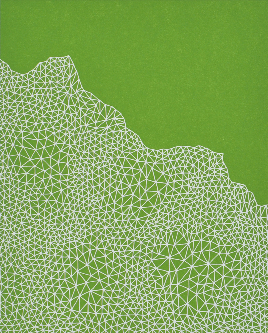 Print by Janet Towbin, Triangulation Green