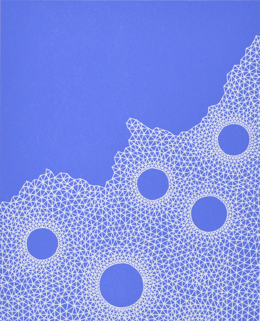 Print by Janet Towbin, WebMesh Blue